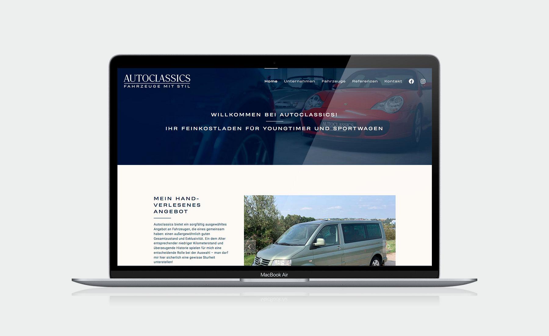 Website für Fa. Autoclassics I gographics